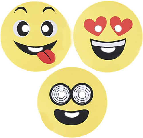 """Set of Emoji Novelty Halloween Mask! Smiley - 10"""" in Diameter! Perfect for Parties, Groups, and More!"""