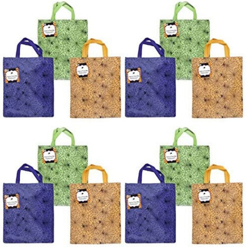 """Set of 12 Spider Web Halloween Treat Bags! 3 Bright and Beautiful Colors - 13"""" X 14"""" - Ages 4+ - Adorable Spider Web Treat Bags Perfect for Parties, Gifts, Events, Trick or Treat Bags, and More!"""