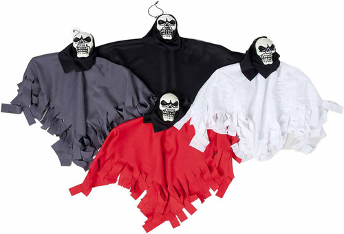 """Set of 15"""" X 10"""" Assorted Hanging Skulls with Assorted Cloak Colors! Perfect for Your Next Halloween Gathering!"""