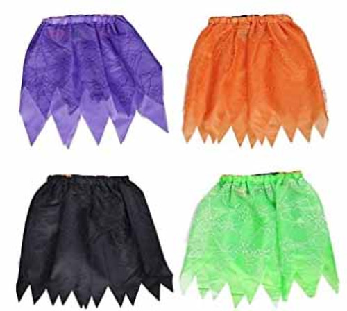 """Set of 10"""" X 15"""" Witch Tutu Skirts with Spider Web Designs! Kid's Witch Tutu Skirt! Perfect for Halloween!"""