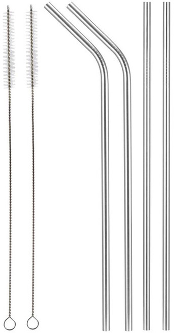 Set of Stainless Steel Drinking Straws with 2 Cleaning Brushes - Straight and Bent Straws - Great for Home And Travel - Reusable, Eco-Friendly, and Non-Corrosive