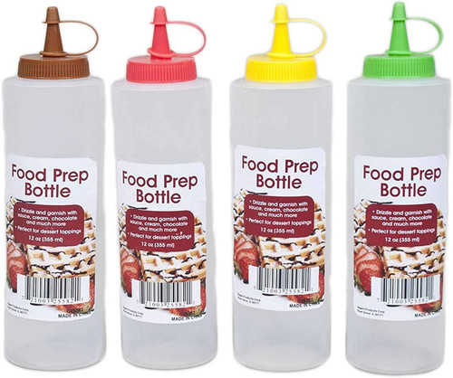12oz Food Prep Bottle with Assorted Color Tops - Red, Green, Brown, Yellow