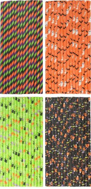 """Halloween Inspired Paper Straws for Spooky Parties - 7.8"""" Tall - 4 Different Styles"""