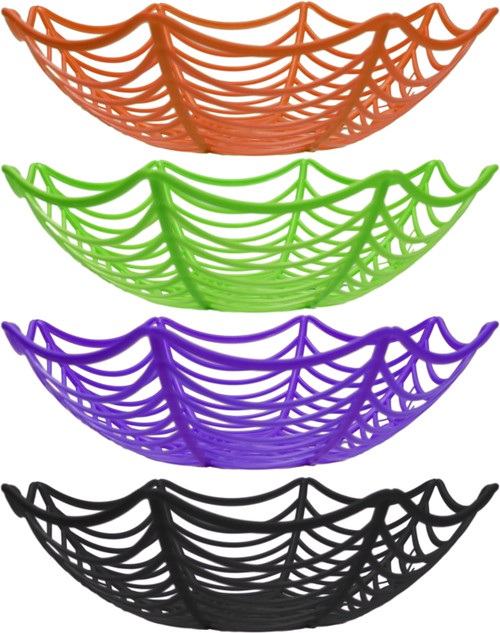 """Halloween Candy Bowls in Assorted Colors - Fun Web Design with Creepy Spiders! - Features Bright Colors! - Measures 3"""" Tall / 10.5"""" Diameter"""
