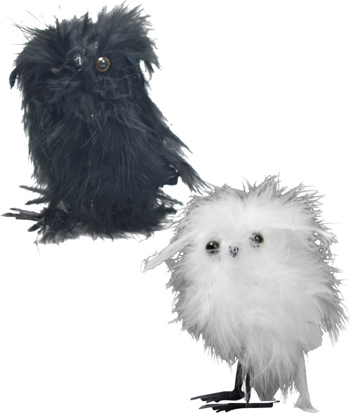 Decorative Feathery Owlets - Measures 4 Inches Tall - Easily Attaches to Wreaths, Halloween Baskets, Hats, and More!