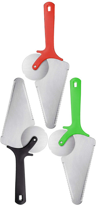Set of Assorted Pizza Cutter Wheel 3 In 1 Stainless Steel Cake Pie Pizza Server Slicer With Non Slip Handle for Pizza, Pies, Waffles, Cake and Cookies Dough!