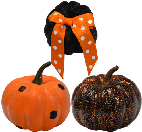 "Set of Assorted Halloween Pumpkins - Measures Aprrox. 4""x4"" - at Least 3 Guaranteed - Glitter, Painted, and Crackle Foam Pumpkin"