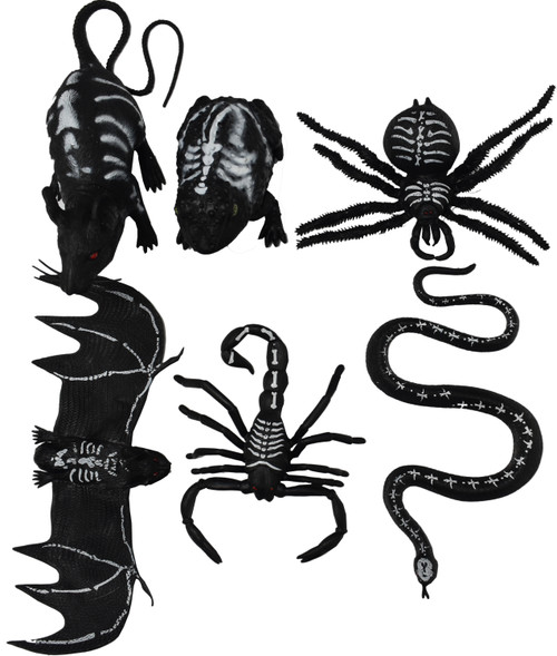 Assorted Rubber Creatures - Fun Halloween Decorations - Great for Setting Up Creepy Table Settings and Halloween Parties!