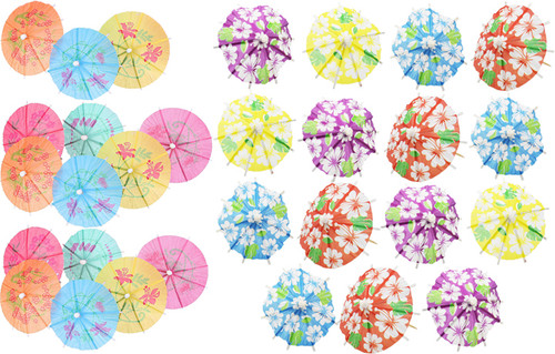 Assorted Toothpick Umbrellas - Measures 4 Inches Long - Great for Summer Pool Parties, Beach Parties, and Luaus!