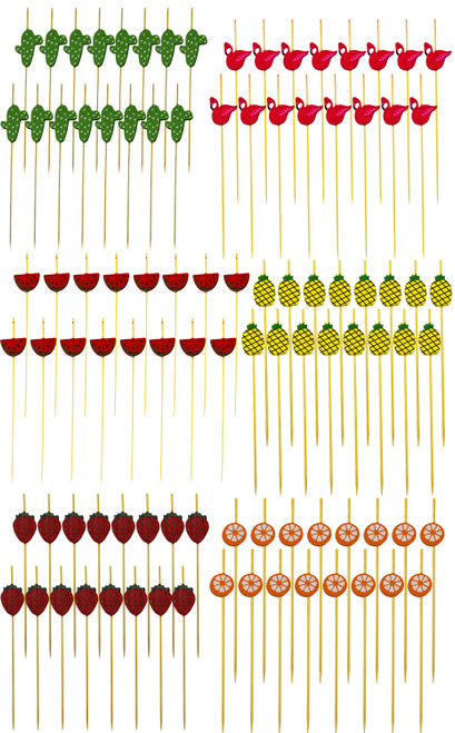 """Set of Tropical Bamboo Cocktail Picks for Luaus and Beach Parties! - Features Fruits, Cacti, and Flamingos on Each Pick! - Measures 4.72"""" Long!"""