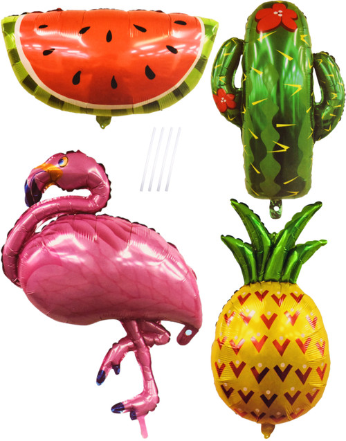 Set of Tropical Themed Foil Balloons - Great for Luaus and Pool Parties! - Hawaiian Themed Balloons - Large Foil Balloons with Straws Included!