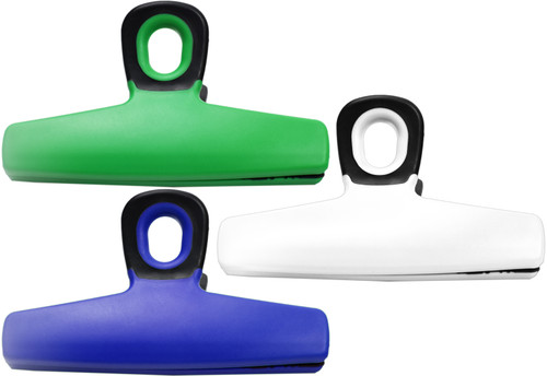 """Set of Large Bag Clips - Measures 5.5""""x3.25"""" - Rubber Grips In Mouth to Hold Bags Tightly - Easily Hangable - Non Magnetic"""