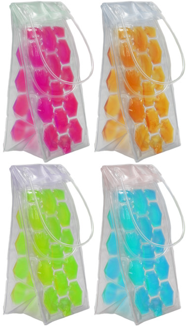 """Wine Chiller Bags - Perfect for Road Trips, Parties and More! - Assorted Colors - 3.5""""x4""""x10"""" with 4.5"""" Tall Handles!"""