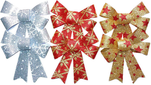 """Set of Large Gift Wrap Bows - X of Each Color - 4""""x5"""" - Red&Gold Silver&White Gold&Red - Stock Up for The Holiday Season!"""