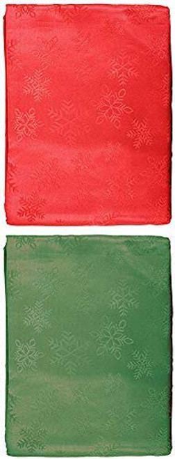 Christmas Fabric Table Cloths with Snowflakes Designs! 100% Polyester ~ Red & Green