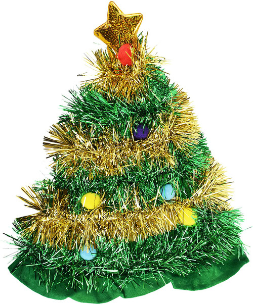 Holiday Tinsel Christmas Tree Hat - One Size Fits All - 11x17.5 in.