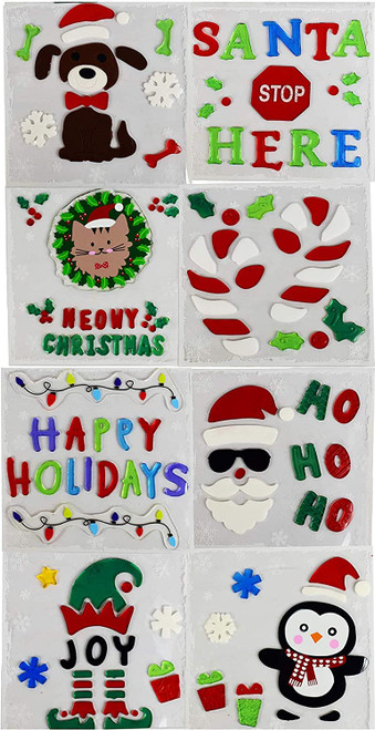 Set of Christmas Window Gel Stickers - Fun and Cute Designs - Perfect for Schools, Homes, Offices and More!