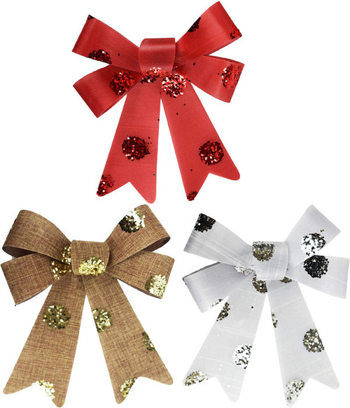 Set of Assorted Bold Christmas Holiday Tinsel Glitter Dot Bows - Great for Many Uses