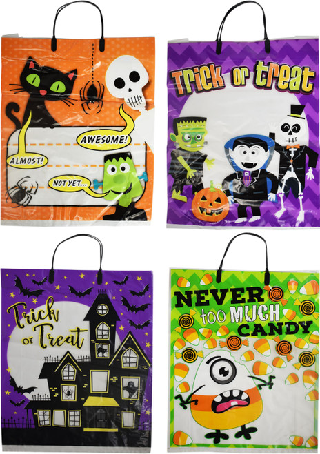 Set of Fun See-Though Trick or Treating Bags - Great for Keeping Track of Your Goodies While Out!