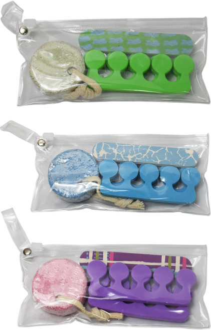 Set of Colorful Pedicure Sets - Includes a Foot Pumice, Nail File, Toe Separators, and a Carry Pouch!