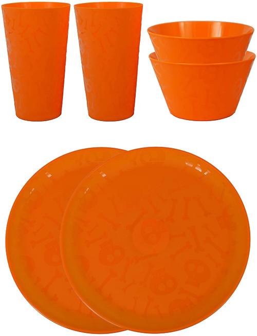 Set of 6 Piece Orange Halloween Dinnerware Set! Reusable Spooky Plates, Bowls, and Cups!…