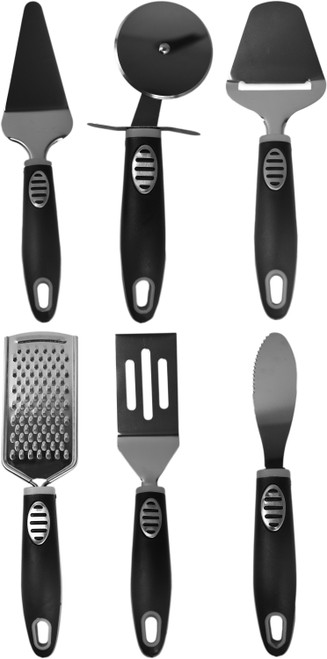Set of Kitchen Gadgets - Black & Grey - Pizza Slicer, Cake Cutter, Spatula, and More! - The Perfect Housewarming Gift!