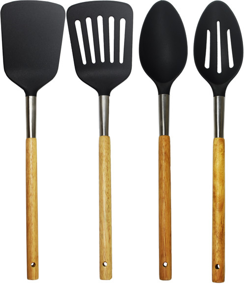 Set of Wooden Handled Cooking Utensils - Dishwasher Safe - Nylon Spoons and Spatulas!