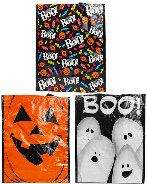 """Set of Reusable Halloween Trick or Treat Bags - Perfect for Groceries, Trick or Treating, Books, and So Much More - Measures 12""""x15.5""""x5'"""