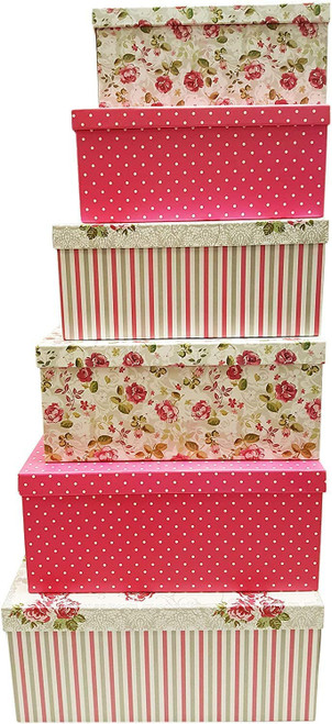 Elegant Decorative Themed Extra Large Nesting Gift Boxes -6 Boxes- Nesting Boxes Beautifully Themed and Decorated - Perfect for Gifts or Simple Decoration Around the House!