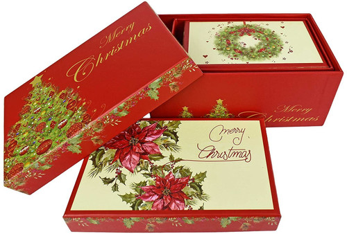 """ALEF Elegant Decorative Holiday Themed Nesting Gift Boxes - 7""""x 3""""x 4.5"""" - Nesting Boxes Beautifully Themed and Decorated - Perfect for Gifts or Simple Decoration Around The House!"""
