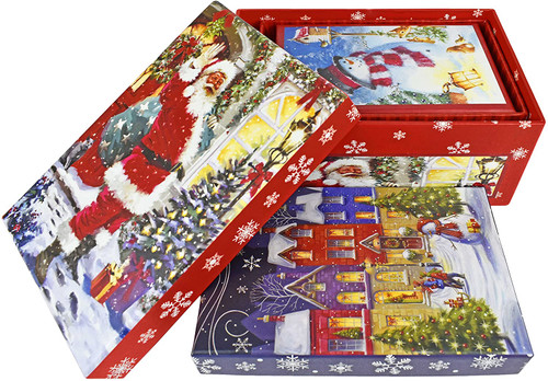 ALEF Set of Elegant Decorative Holiday Themed Nesting Gift Boxes -3 Boxes- Nesting Boxes Beautifully Themed and Decorated!