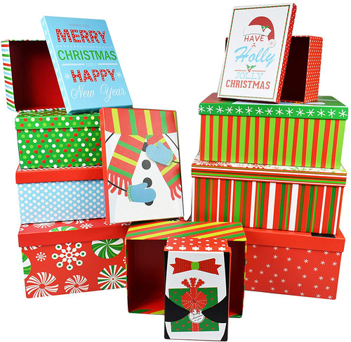 Set of 10 Holiday Nesting Gift Boxes; 10 Different Sizes – Perfect for Preparing for The Holidays!