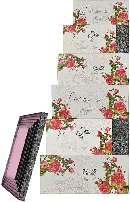 Alef Elegant Live Laugh Love Decorative Themed Extra Large Nesting Gift Boxes -6 Boxes- Nesting Boxes Beautifully Themed and Decorated - Perfect for Gifts or Simple Decoration Around the House!