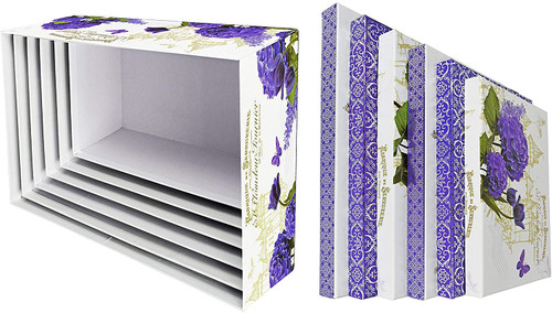 ALEF Elegant Lavender & Tulips Decorative Themed Extra Large Nesting Gift Boxes -6 Boxes- Nesting Boxes Beautifully Themed and Decorated - Perfect for Gifts or Simple Decoration Around The House!