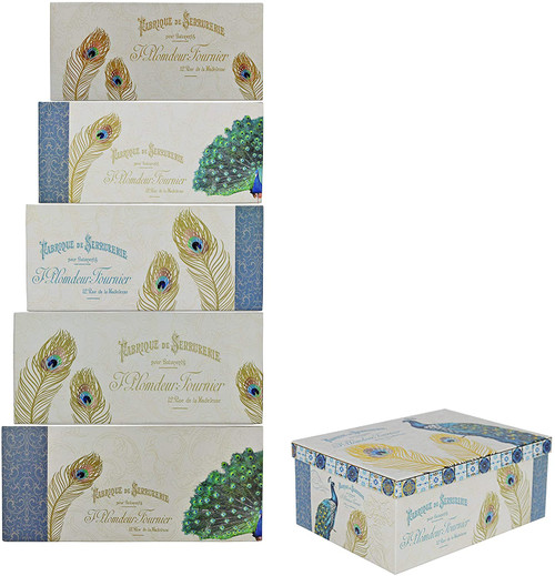 ALEF Elegant Peacock Decorative Themed Extra Large Nesting Gift Boxes -6 Boxes- Nesting Boxes Beautifully Themed and Decorated - Perfect for Gifts or Simple Decoration Around The House!