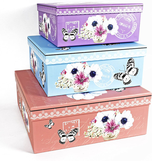 Alef Elegant Decorative Pastel Butterflies Themed Nesting Gift Boxes -3 Boxes- Nesting Boxes Beautifully Themed and Decorated - Perfect for Gifts or Simple Decoration Around the House!