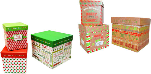 Set of 6 Alef Elegant Decorative Holiday Themed Nesting Gift Boxes -3 Boxes- Nesting Boxes Beautifully Themed and Decorated!…