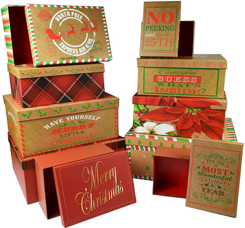 """Set of 10 Holiday Nesting Gift Boxes - 10 Different Sizes - Perfect for Preparing for The Holidays! - Largest Box Measures 7"""" x 4 3/4"""" x 2 3/4"""""""
