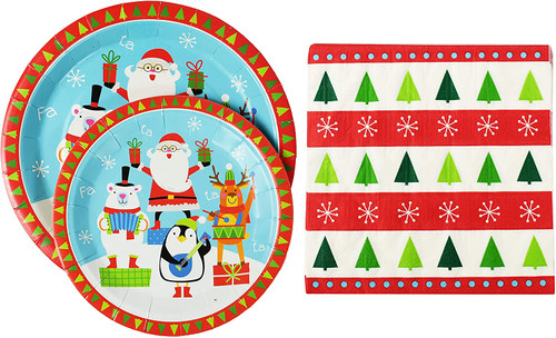 Set of Holiday Paper Dinnerware Set! Perfect For Holiday Dinners and Parties!