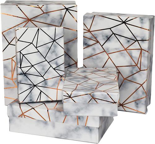 ALEF Elegant Decorative Themed Nesting Gift Boxes -5 Boxes- Nesting Boxes Beautifully Themed and Decorated!