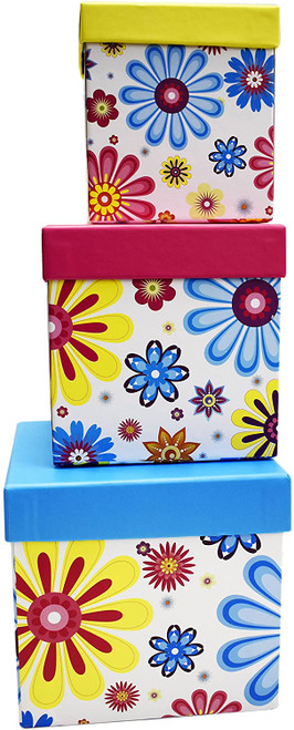 Alef Elegant Decorative Themed Nesting Gift Boxes -3 Boxes- Nesting Boxes Beautifully Themed and Decorated - Perfect for Gifts or Simple Decoration Around The House!