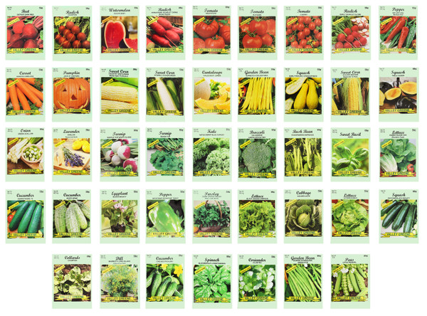 Set of 43 Heirloom Vegetable Garden Seeds - Heirloom Vegetable Garden Seeds - 100% Non-GMO!