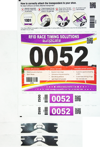 SIVA Number Bib with 2 Integrated Dumbel UHF Shoe Lace Tags (Monza R6-P) | SIVA-NB2SLT-DUMBEL-2S