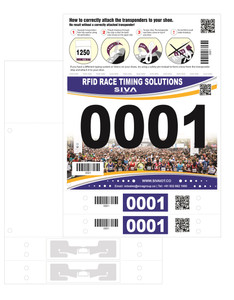 SIVA Number Bib with 2 Integrated DogBone UHF Shoe Lace Tags (Monza R6-P)   SIVA-NB2SLT-DOGBONE-2S