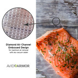 Diamond Air Channel Embossed Design on all Avid Armor vacuum sealer bags and rolls