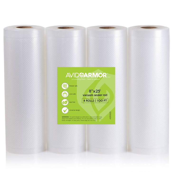 """8"""" x 25' vacuum sealer bags roll for Foodsaver - 4 pack"""