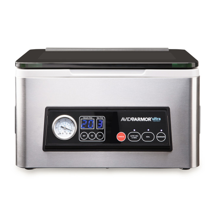 The Avid Armor USV20 chamber vacuum sealer is the ideal kitchen appliance for all of your home vacuum sealing needs. It helps keeps food fresh up to 5x longer.  It has a smooth stainless steel design which perfectly to matches any kitchen aesthetic.
