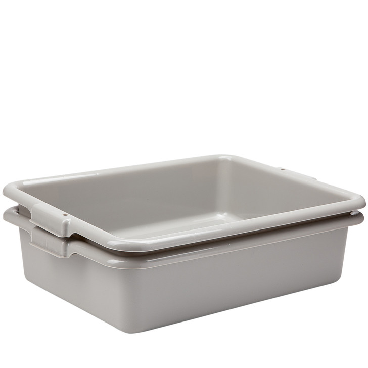 """2 Pack Commercial Tote, Plastic Bus Box, Meat Lug  - 40lb Capacity 21"""" x 15"""" x 5"""""""