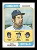 Jack McKeon & Harry Dunlop Autographed 1974 Topps Card #166 Kansas City Royals SKU #167164
