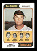 George Bamberger & Billy Hunter Autographed 1974 Topps Card #306 Baltimore Orioles SKU #167619